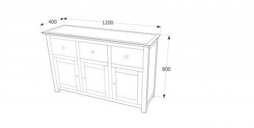 PE733 Perth 3 door 3 drawer sideboard - IWFurniture