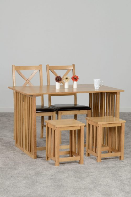 RICHMOND TABLE WITH 2 STOOLS 2 CHAIRS OAK VARNISH 400 402 102 scaled