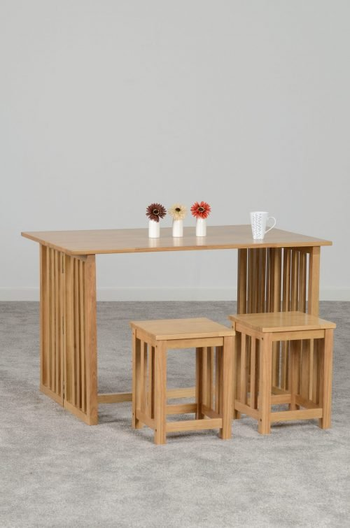 RICHMOND TABLE WITH 2 STOOLS OAK VARNISH 400 402 102 scaled