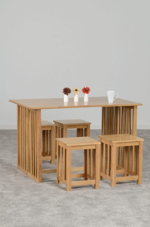RICHMOND TABLE WITH 4 STOOLS OAK VARNISH 400 402 102 scaled