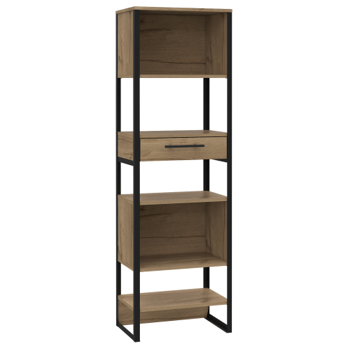 BK924 Brooklyn tall narrow bookcase with 1 drawer - IWFurniture