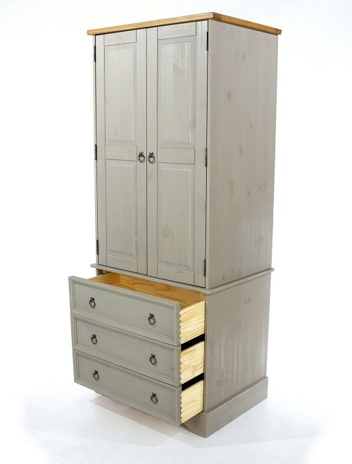 Core Corona Grey 2 Door 3 Drawer Wardrobe - IW Furniture - CRG523