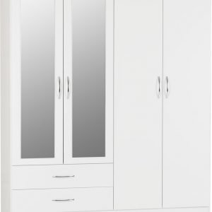 Nevada 4 Door 2 Drawer Mirrored Wardrobe -01-100-101-088 - IW Furniture