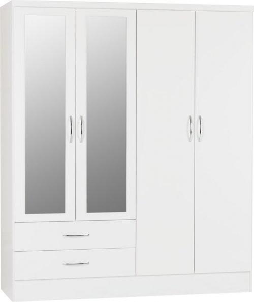 Nevada 4 Door 2 Drawer Mirrored Wardrobe -01-100-101-088 - IW Furniture