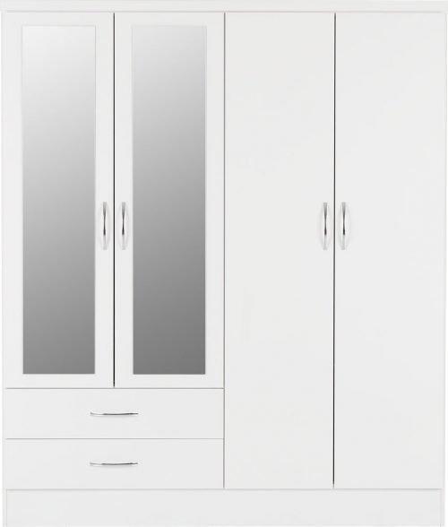 Nevada 4 Door 2 Drawer Mirrored Wardrobe -02-100-101-088 - IW Furniture