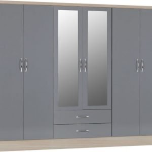 Nevada six door wardrobe grey gloss - IW Furniture