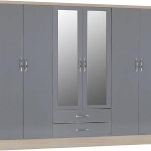 Nevada six door wardrobe grey gloss - IW Furniture