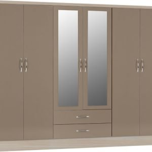 Nevada six door wardrobe oyster gloss - IW Furniture