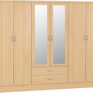 Nevada six door wardrobe oak - IW Furniture