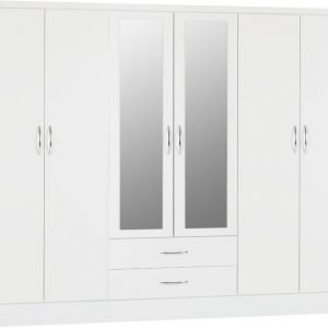 Nevada six door wardrobe white gloss - IW Furniture