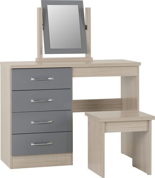 NEVADA DRESSING TABLE SET GREY GLOSSLIGHT OAK EFFECT VENEER 2019 01 100 105 016 scaled