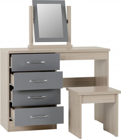 NEVADA DRESSING TABLE SET GREY GLOSSLIGHT OAK EFFECT VENEER 2019 02 100 105 016 scaled