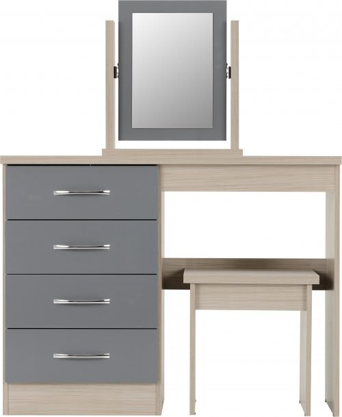 NEVADA DRESSING TABLE SET GREY GLOSSLIGHT OAK EFFECT VENEER 2019 03 100 105 016 scaled