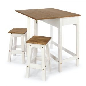 Corona White Breakfast Drop Leaf Table 2 Stools Set