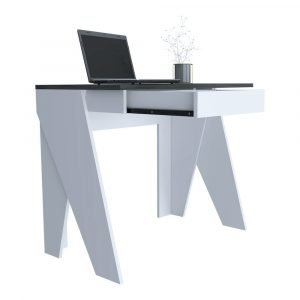 Dallas Home Office Desk in White Carbon Grey Oak