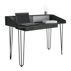 Dallas Home Office Desk in Carbon Grey Oak Effect - IW Furniture