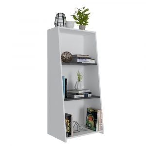 Dallas Low Bookcase in White Carbon Grey Oak Effect