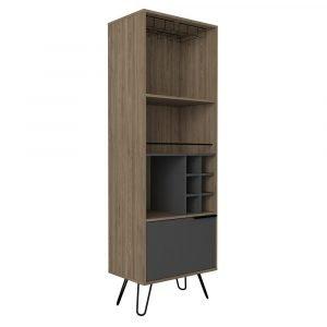 Vegas Bleached Oak Effect Tall Drinks Cabinet - IW Furniture
